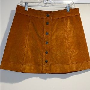 Madewell button down orange suede mini skirt